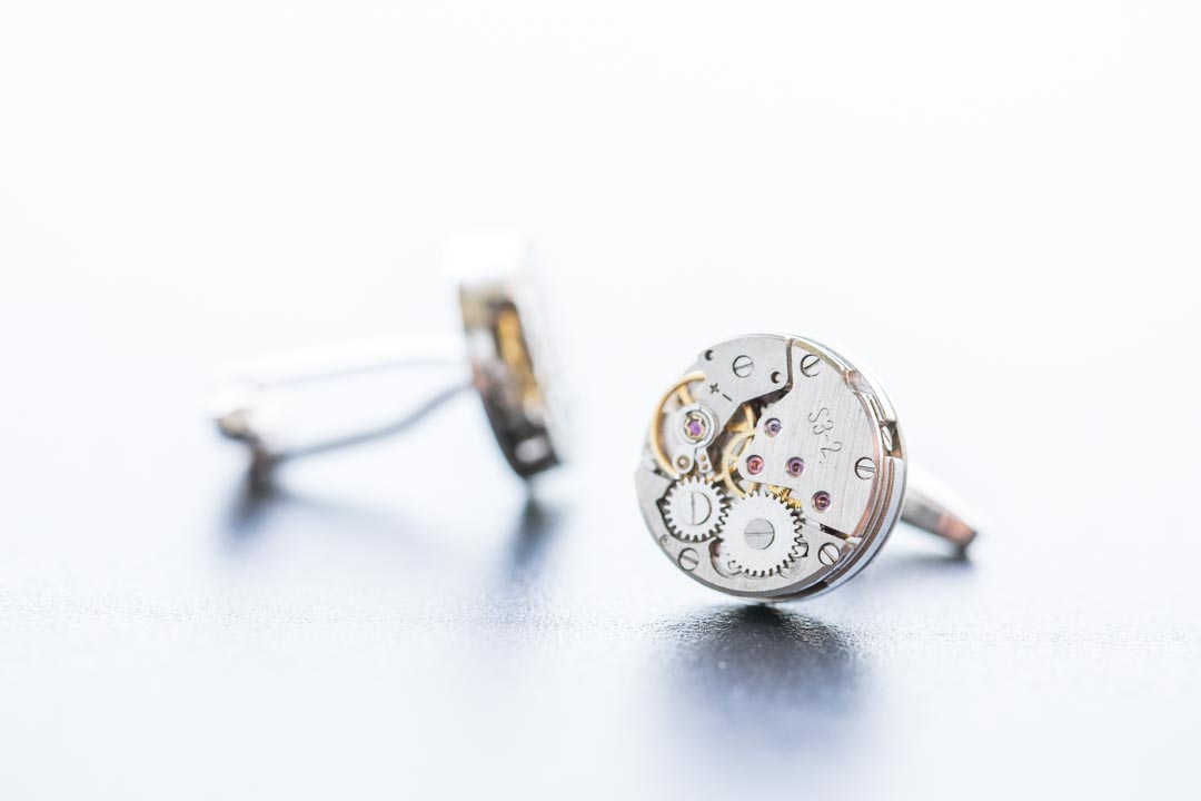 An image of the groom's cufflinks - wedding photography by Sam of Hansford Carter, a Kent wedding photographer