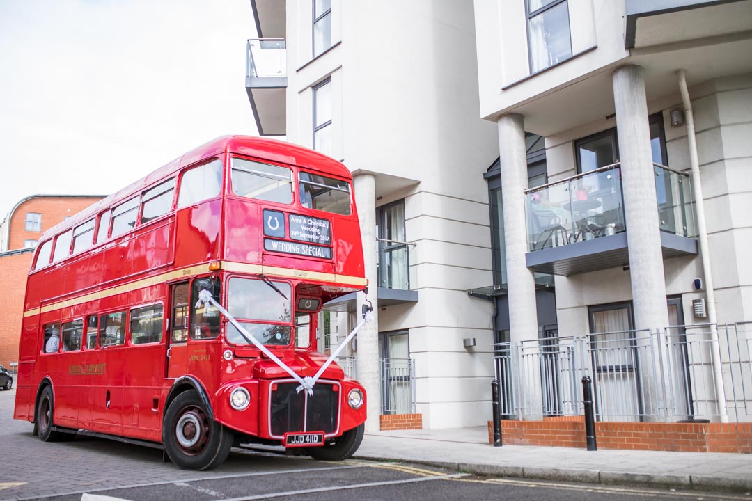 An image of the vintage bus - wedding photography by Sam of Hansford Carter, a Kent wedding photographer