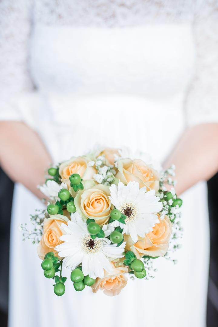 An image of the bride's bouquet - wedding photography by Sam of Hansford Carter, a Kent wedding photographer