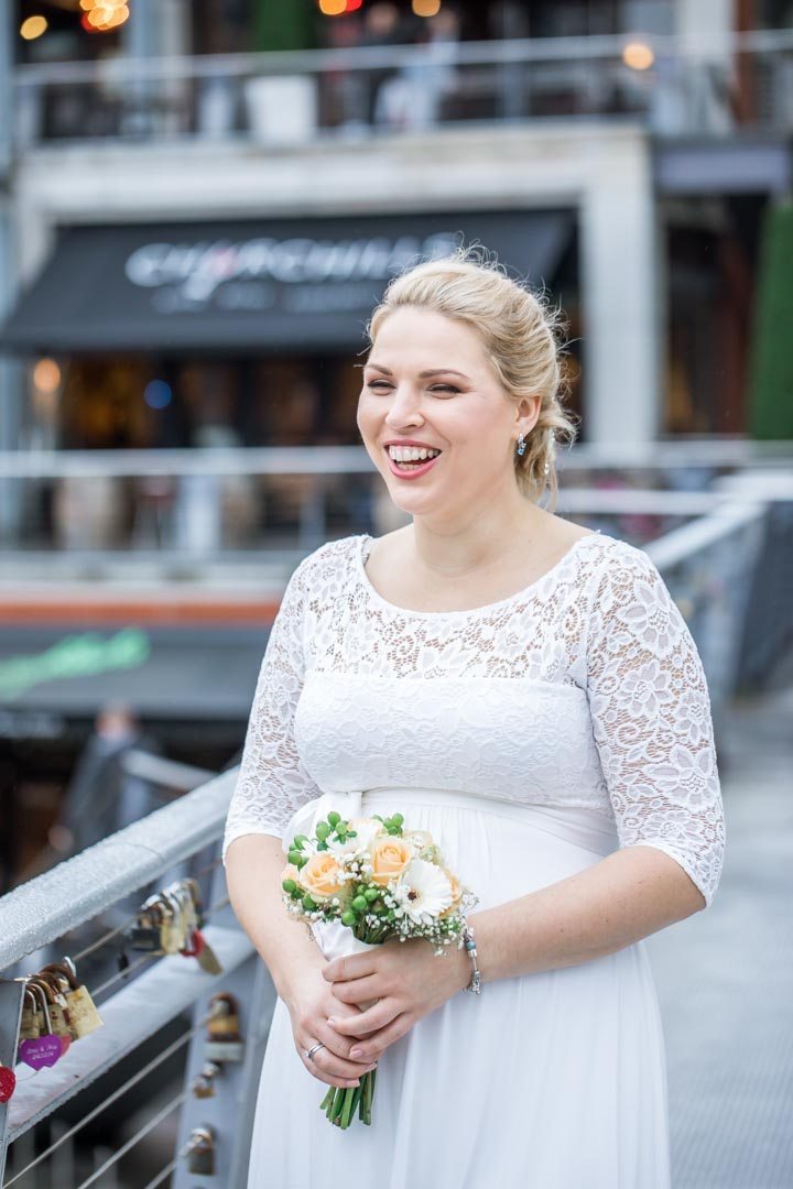 An image of the happy bride - wedding photography by Sam of Hansford Carter, a Kent wedding photographer