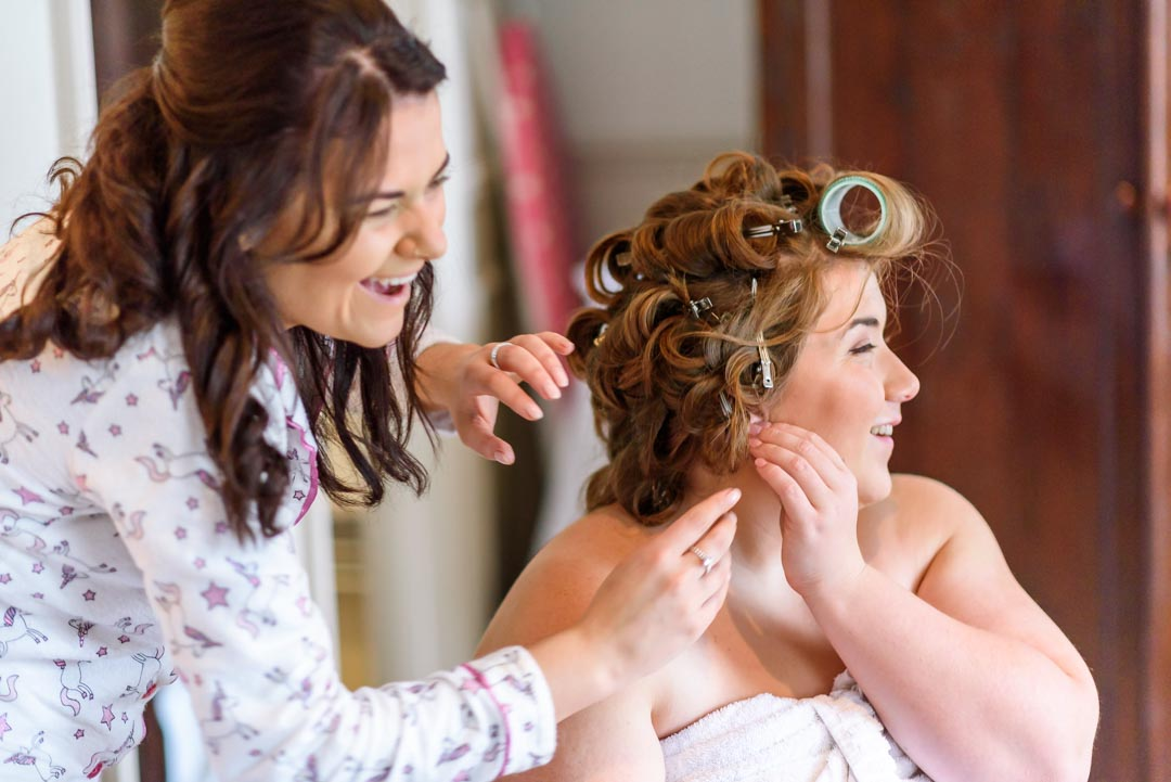 An image of the bride getting ready - wedding photography by Sam of Hansford Carter, a Kent-based wedding photographer
