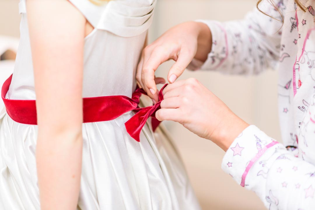 An image of the bridal party getting ready - wedding photography by Sam of Hansford Carter, a Kent-based wedding photographer