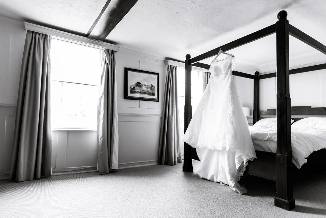 An image of the bride's dress - wedding photography by Sam of Hansford Carter, a Kent-based wedding photographer