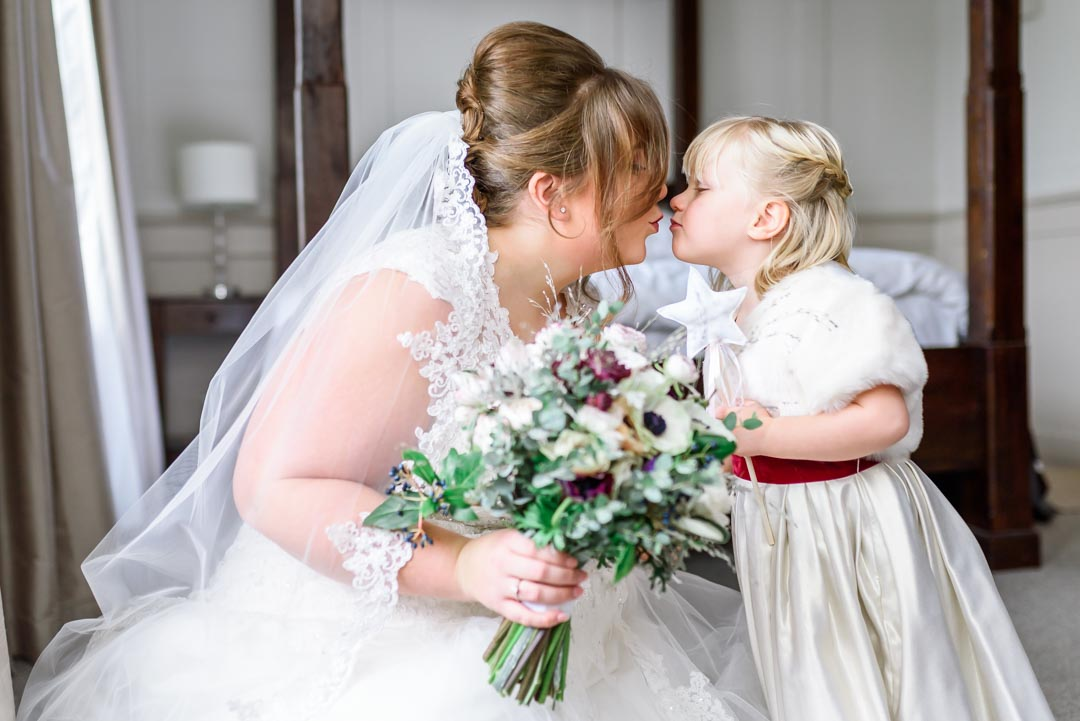 An image of the bride and her daughter - wedding photography by Sam of Hansford Carter, a Kent-based wedding photographer