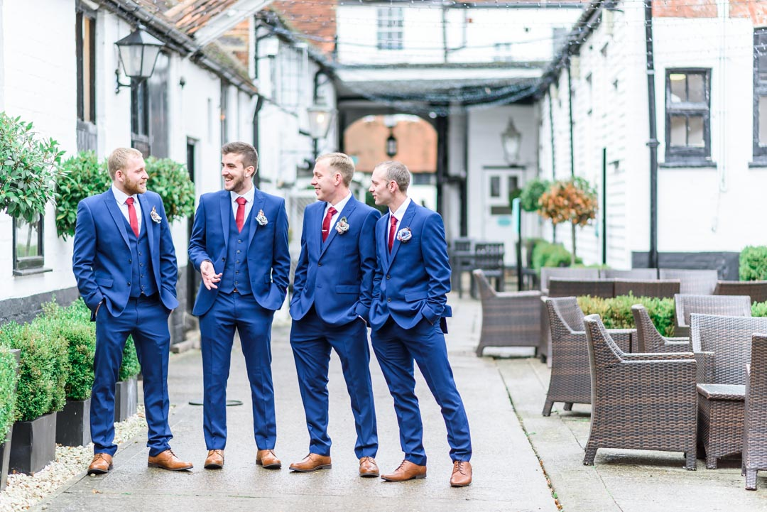 An image of the groom and his groomsmen - wedding photography by Sam of Hansford Carter, a Kent-based wedding photographer