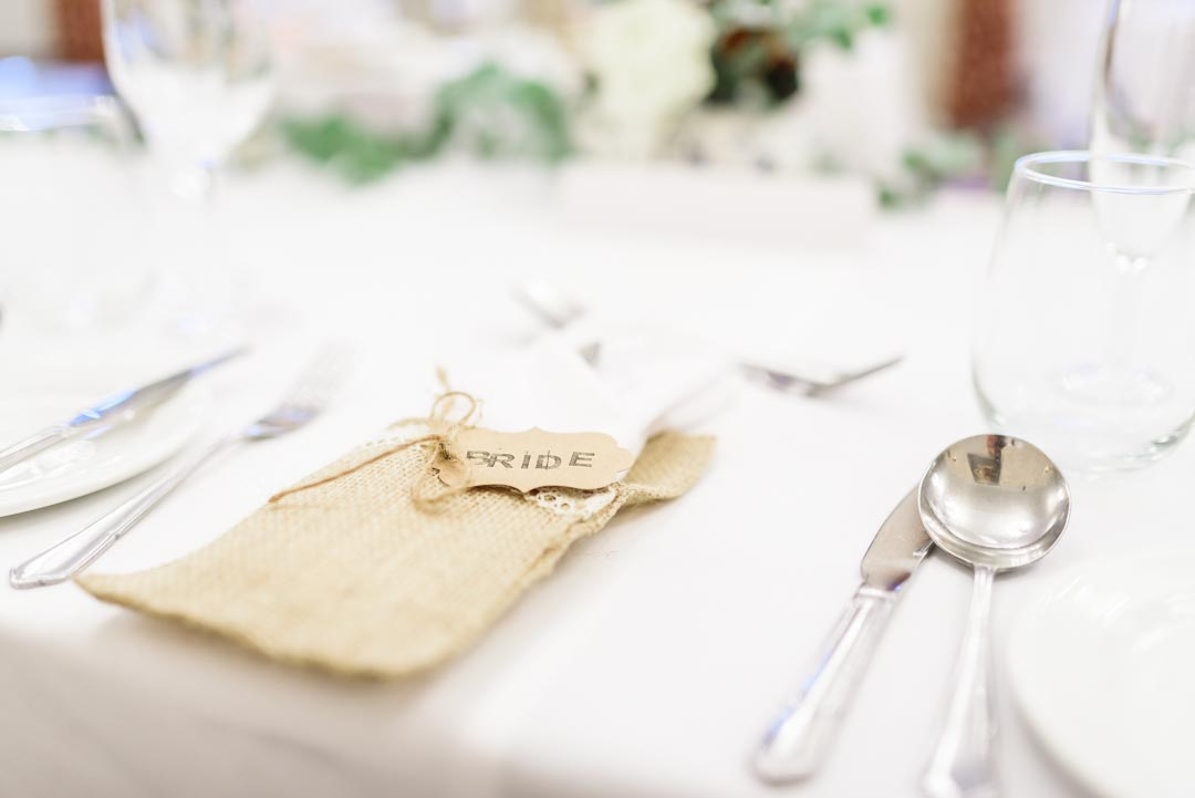 An image of the table settings- wedding photography by Sam of Hansford Carter, a Kent-based wedding photographer